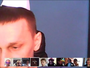 Andrey managed to quickly find a paper cup lying around and put it on his head